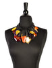 Monies Vintage Multicolor Gem Gold Leaf Wood Leather Collar Necklace