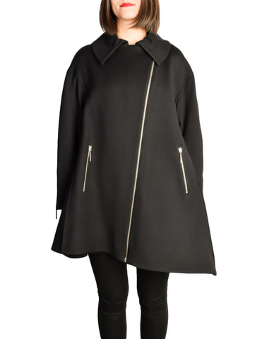 Claude Montana Vintage Black Wool Asymmetrical A-Line Swing Coat