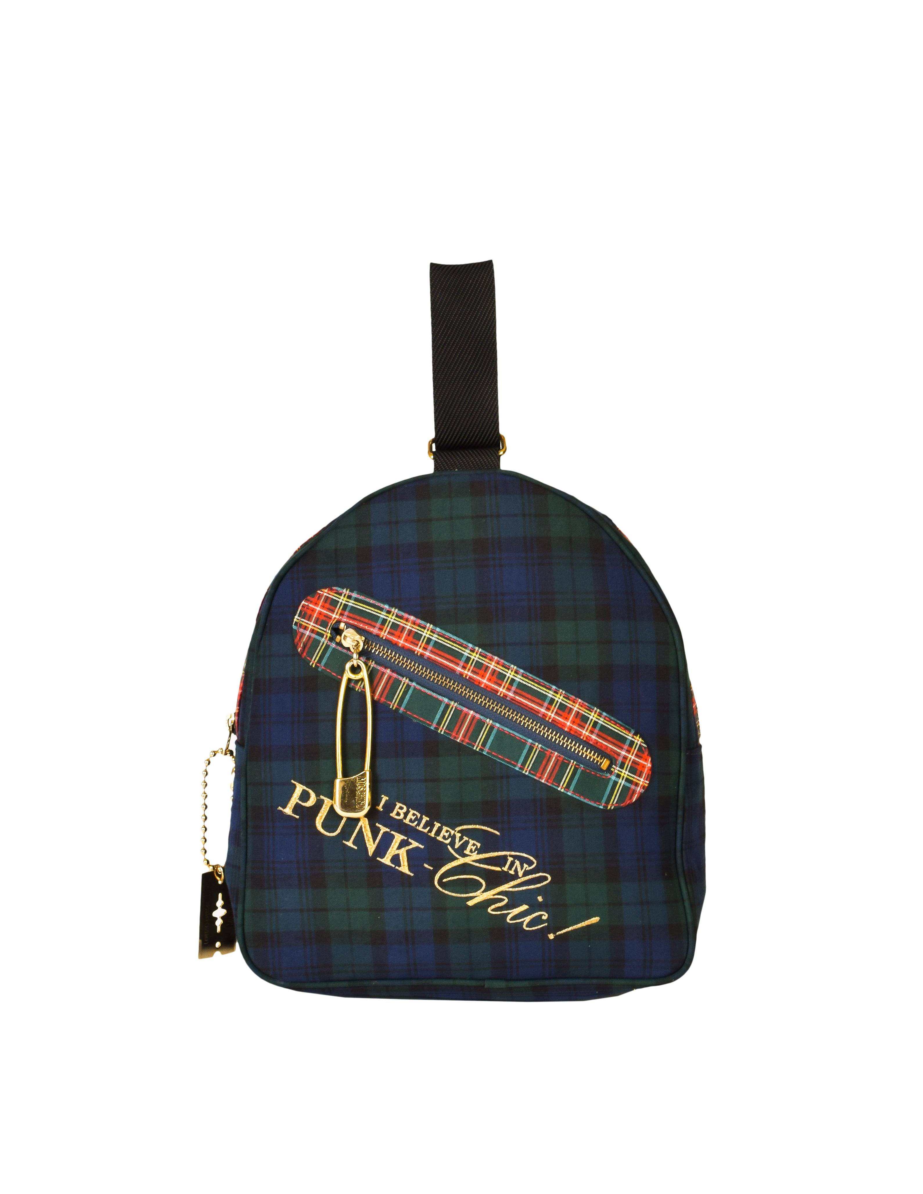 "Moschino Vintage ""I Believe in Punk Chic"" Plaid Fabric Top Handle Bag"
