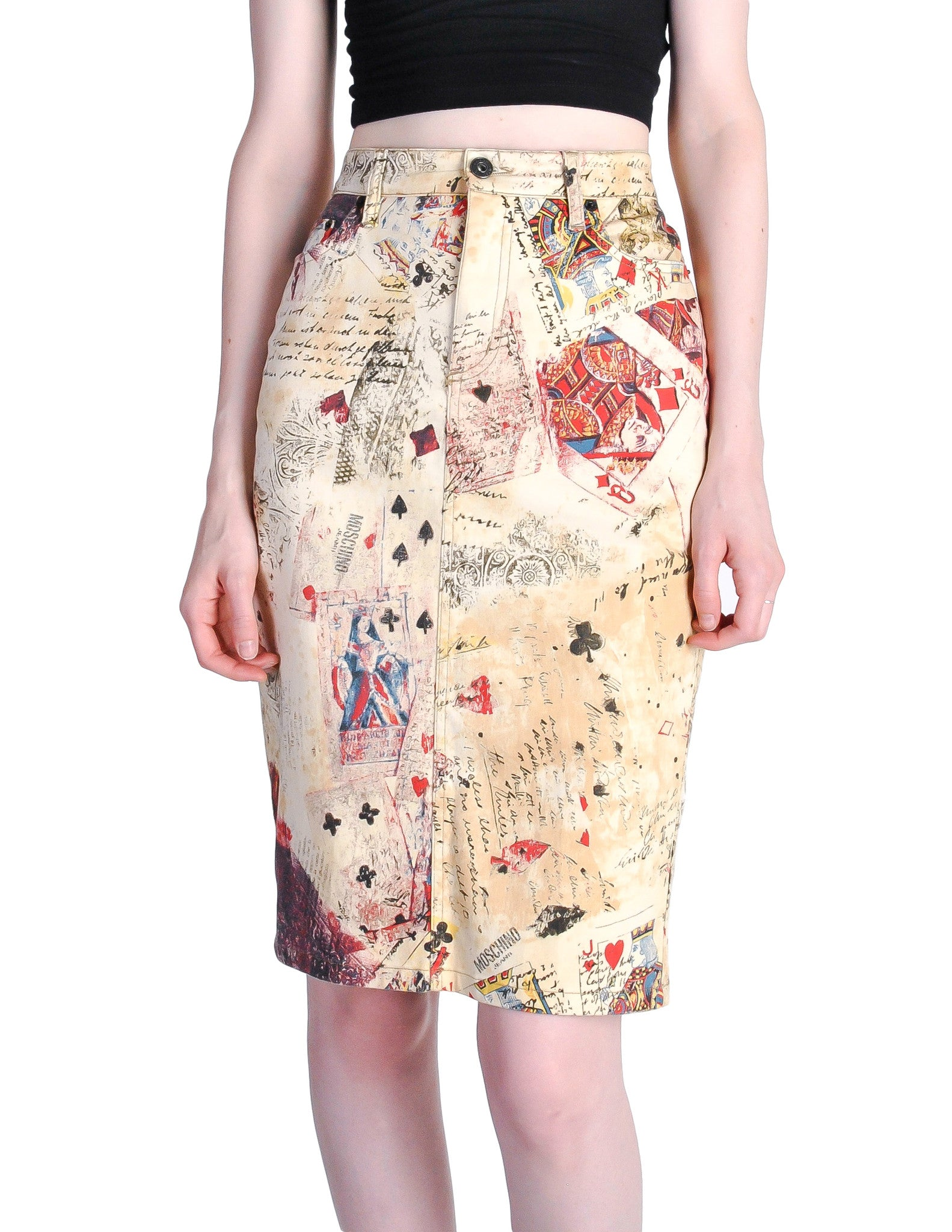 Moschino Vintage Beige Card Suits Print Skirt - Amarcord Vintage Fashion  - 1