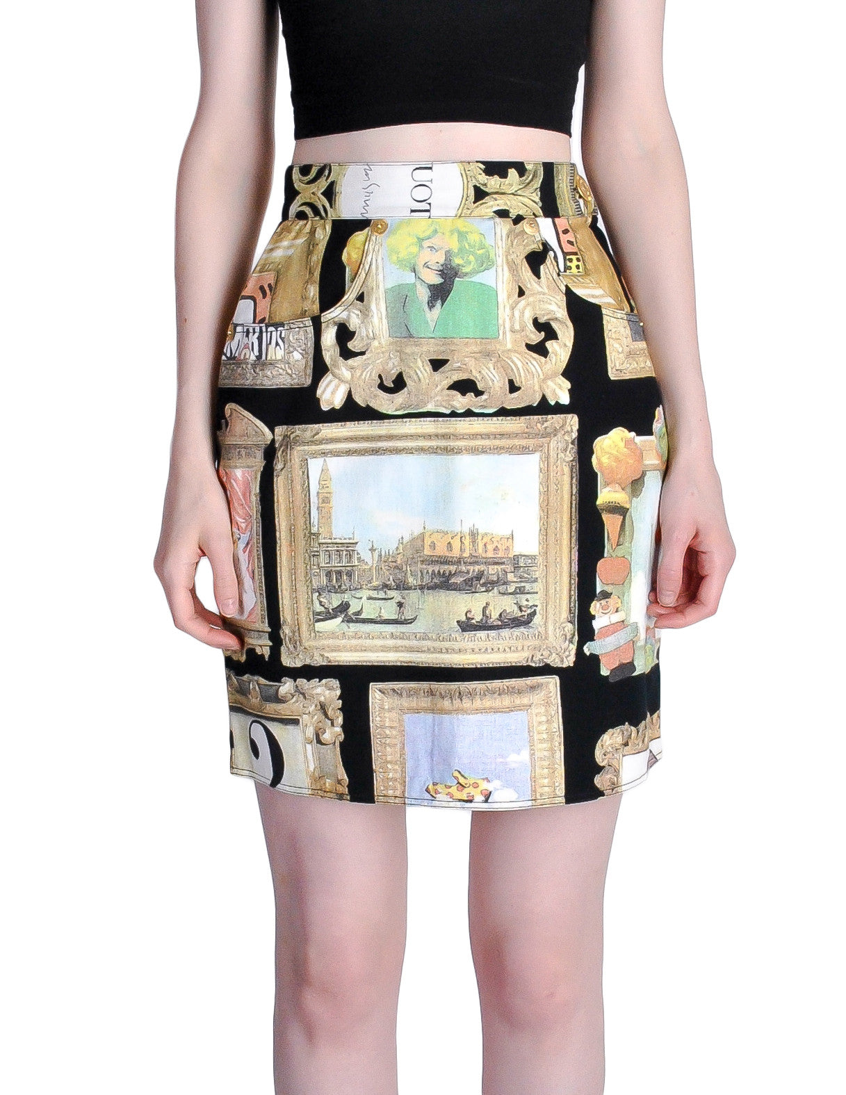 Moschino Vintage Black Picture Frames Print Skirt - Amarcord Vintage Fashion  - 1