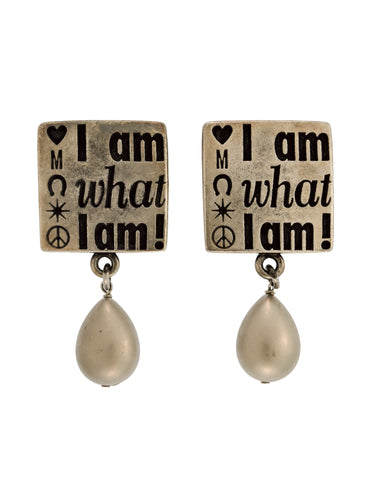 Moschino Vintage I Am What I Am Silver Slogan Statement Earrings