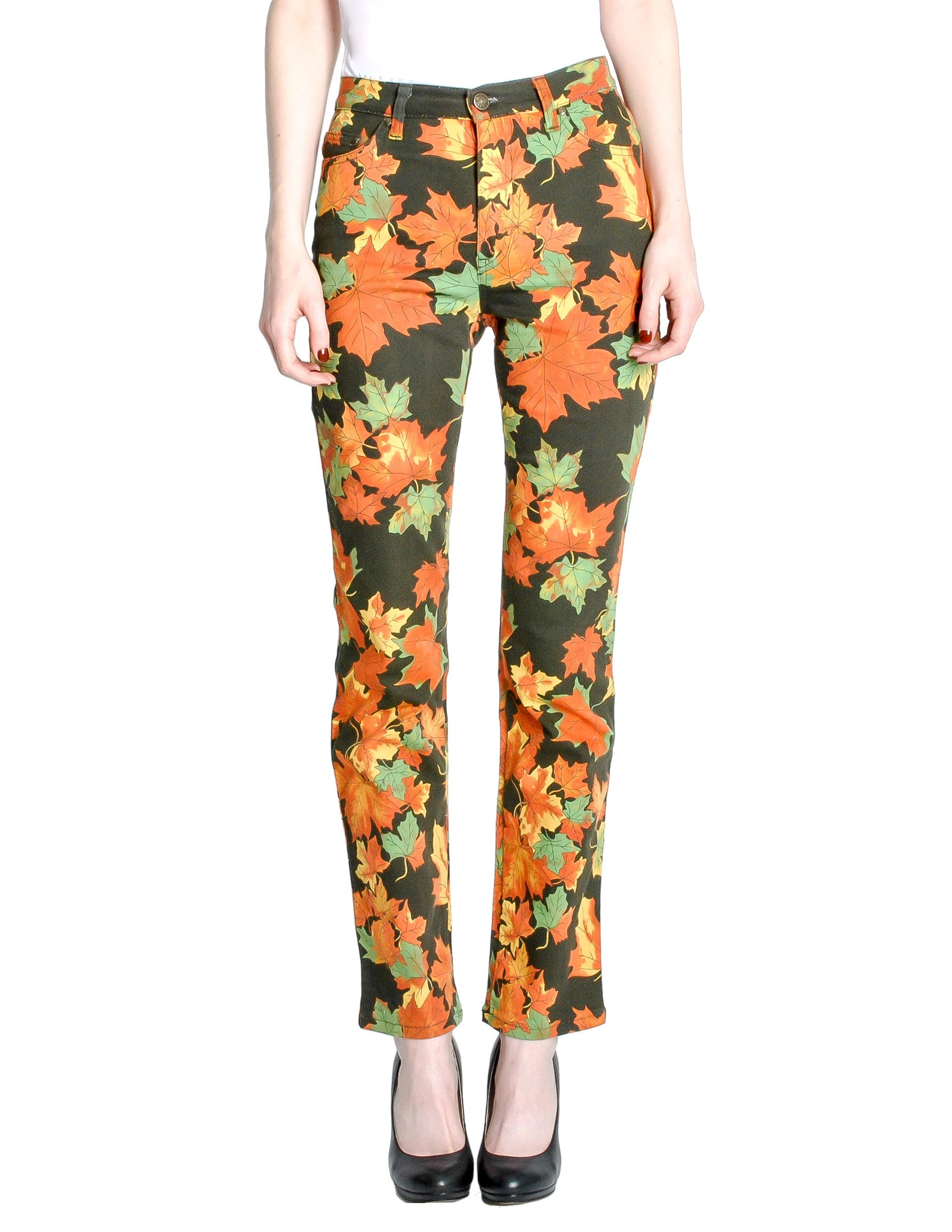 Moschino Vintage Leaf Pattern Jeans - Amarcord Vintage Fashion  - 1