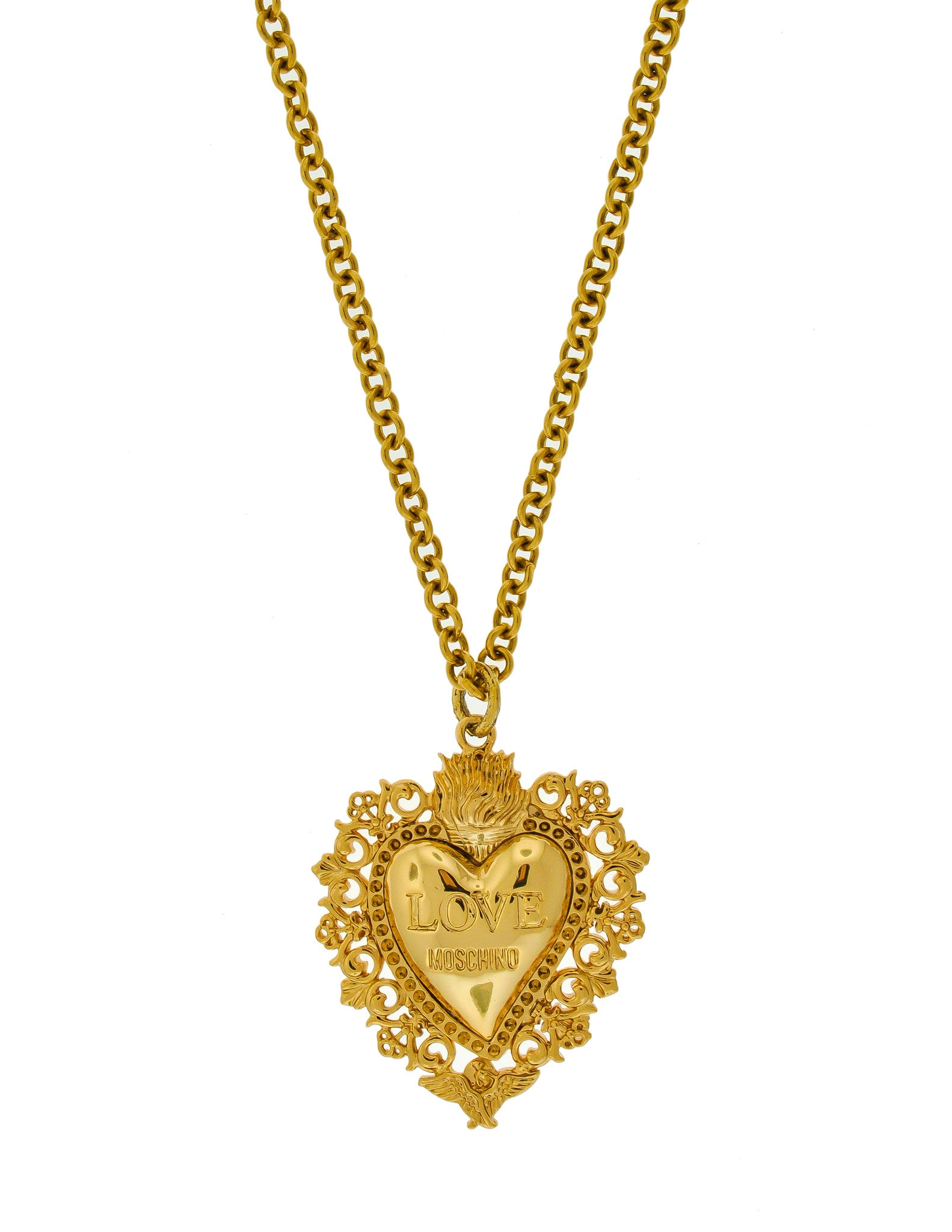 Love Moschino Vintage Gold Sacred Heart Necklace - Amarcord Vintage Fashion  - 1