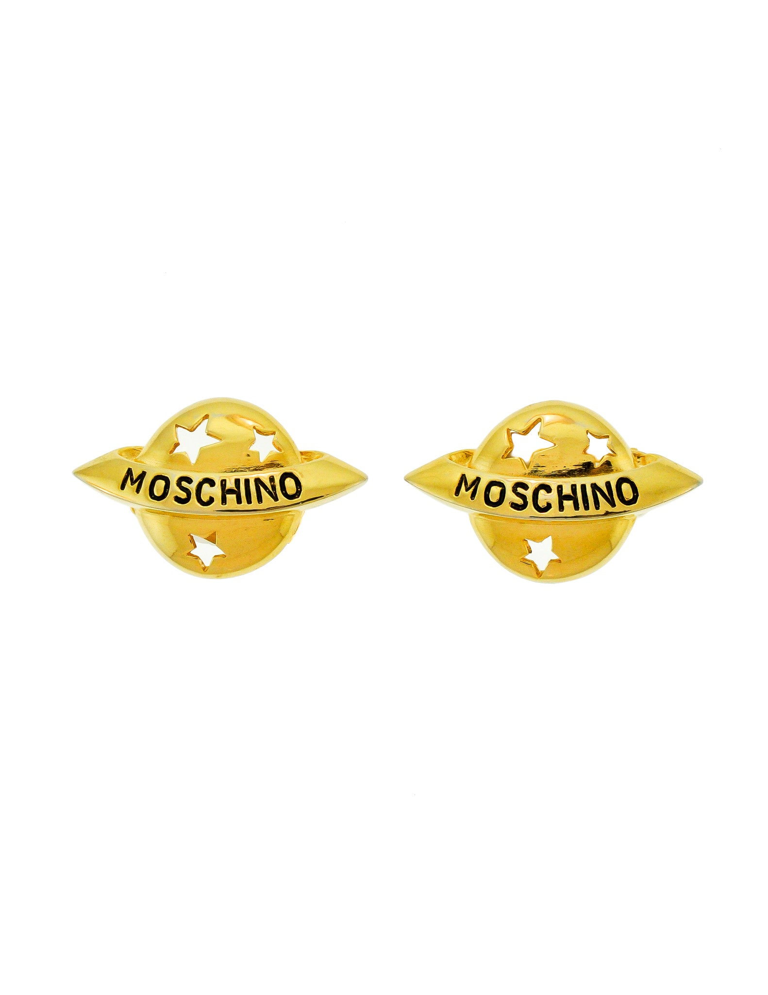 Moschino Vintage Gold Star Saturn Planet Earrings - Amarcord Vintage Fashion  - 1