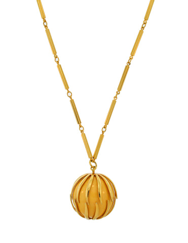 Nina Ricci Vintage Yellow Caged Ball Pendant Gold Necklace