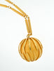 Nina Ricci Vintage Yellow Caged Ball Pendant Gold Necklace - Amarcord Vintage Fashion  - 4