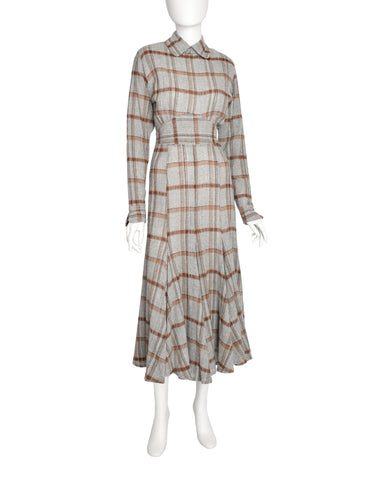 Norma Kamali Vintage Grey Plaid Gauze Wool Dress