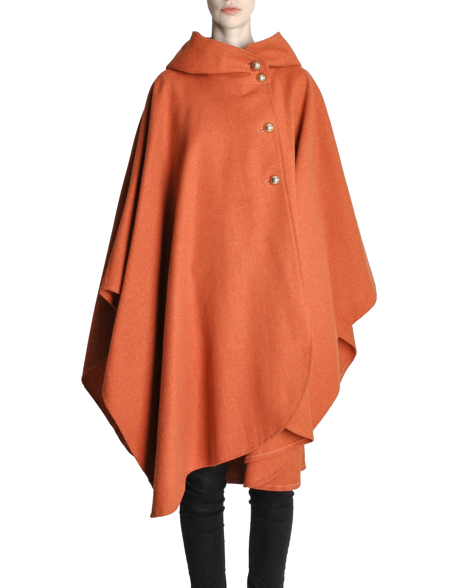 Mariantonia Vintage 1960s Orange Wool Hooded Cape - Amarcord Vintage Fashion  - 1