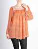 Vintage 1970s Orange Patterned Poet Sleeve Peasant Top - Amarcord Vintage Fashion  - 3