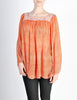 Vintage 1970s Orange Patterned Poet Sleeve Peasant Top - Amarcord Vintage Fashion  - 4