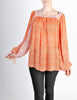 Vintage 1970s Orange Patterned Poet Sleeve Peasant Top - Amarcord Vintage Fashion  - 2