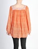 Vintage 1970s Orange Patterned Poet Sleeve Peasant Top - Amarcord Vintage Fashion  - 5