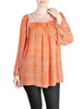 Vintage 1970s Orange Patterned Poet Sleeve Peasant Top - Amarcord Vintage Fashion  - 1