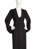 Ossie Clark Vintage Black Plunging Moss Crepe Empire Waist Dress