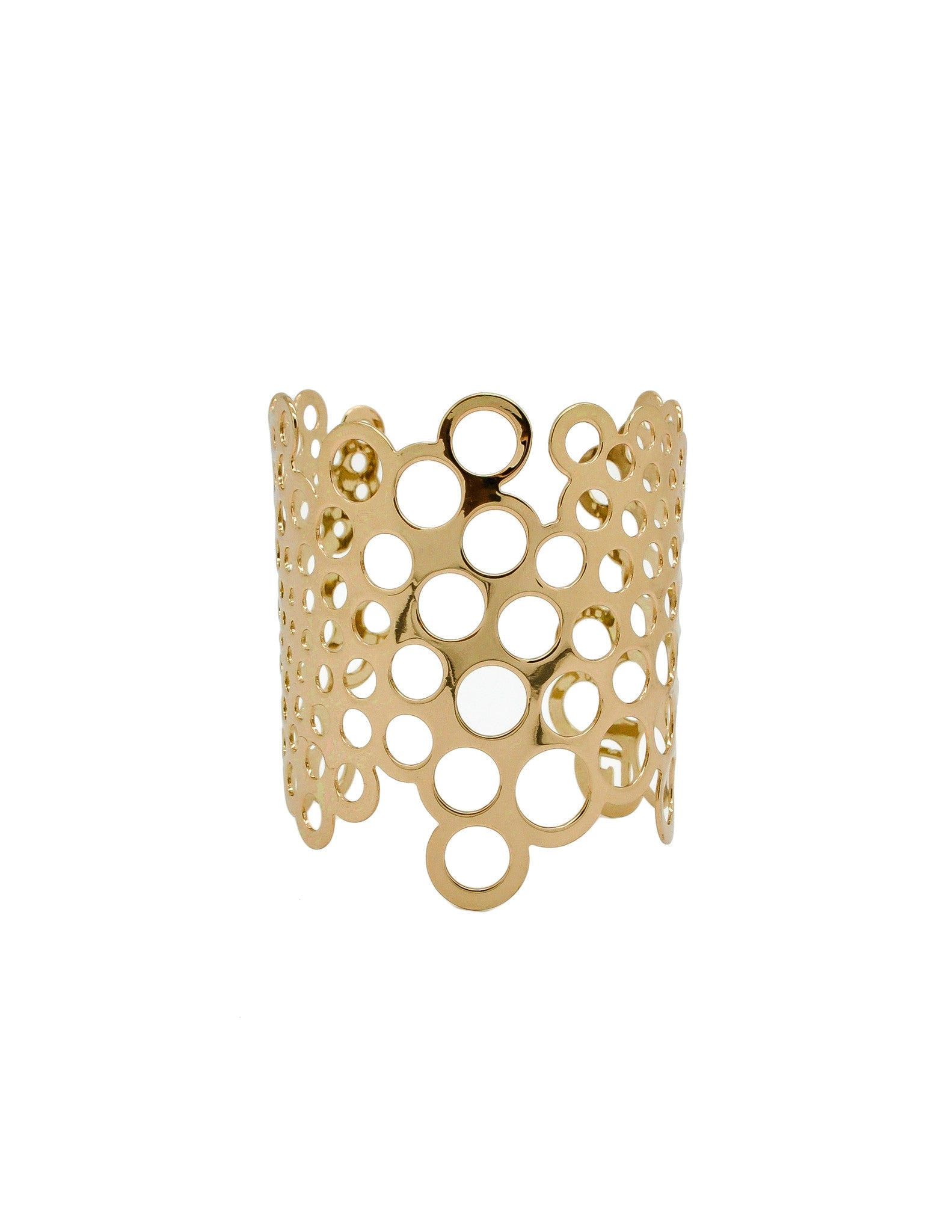Paco Rabanne Vintage Gold Cut Out Bubble Cuff Bracelet - Amarcord Vintage Fashion  - 1