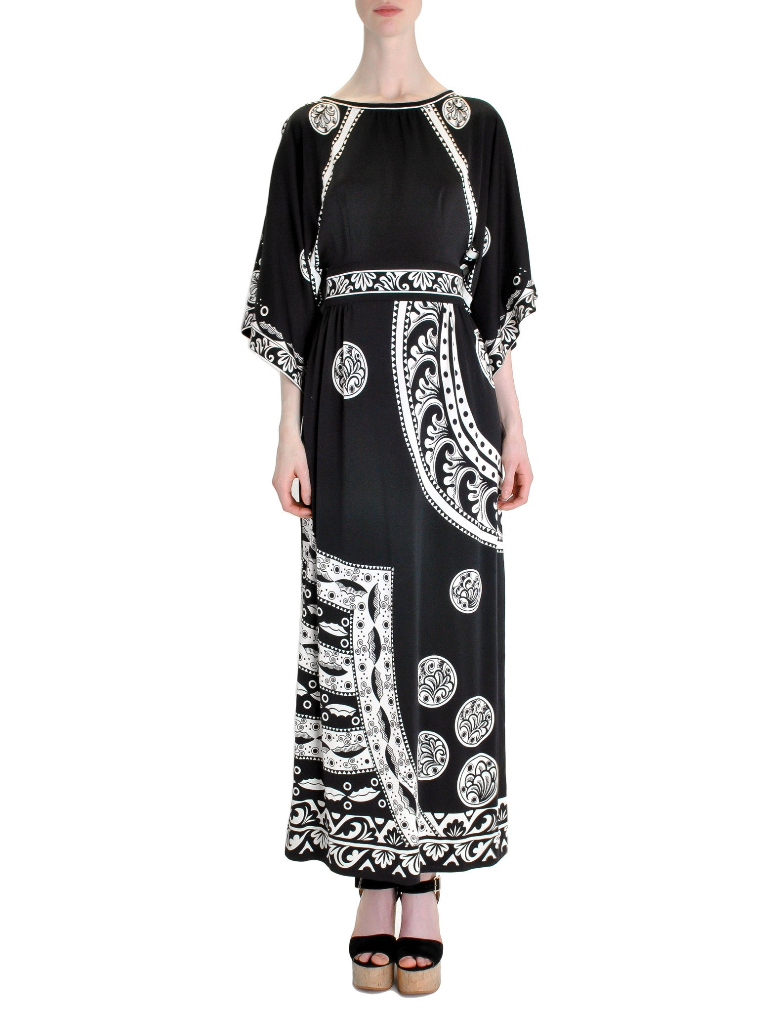 Paganne Vintage Black and White Maxi Dress - Amarcord Vintage Fashion  - 1
