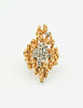 Panetta Vintage Gold Modernist Rhinestone Cocktail Ring - Amarcord Vintage Fashion  - 3