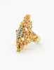Panetta Vintage Gold Modernist Rhinestone Cocktail Ring - Amarcord Vintage Fashion  - 4