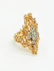 Panetta Vintage Gold Modernist Rhinestone Cocktail Ring - Amarcord Vintage Fashion  - 5