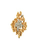 Panetta Vintage Gold Modernist Rhinestone Cocktail Ring - Amarcord Vintage Fashion  - 1