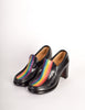Patrick Cox Vintage Rainbow Stripe Black Leather Heeled Loafer Shoes - Amarcord Vintage Fashion  - 3