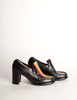 Patrick Cox Vintage Rainbow Stripe Black Leather Heeled Loafer Shoes - Amarcord Vintage Fashion  - 4