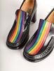 Patrick Cox Vintage Rainbow Stripe Black Leather Heeled Loafer Shoes - Amarcord Vintage Fashion  - 5
