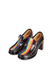 Patrick Cox Vintage Rainbow Stripe Black Leather Heeled Loafer Shoes - Amarcord Vintage Fashion  - 1