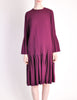 Pierre Cardin Vintage Purple Wool Pleated Dress - Amarcord Vintage Fashion  - 4