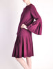 Pierre Cardin Vintage Purple Wool Pleated Dress - Amarcord Vintage Fashion  - 3
