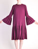 Pierre Cardin Vintage Purple Wool Pleated Dress - Amarcord Vintage Fashion  - 2