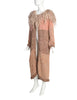Vintage Pastel Pink Knit Wool Curly Shaggy Collar Duster Sweater Coat