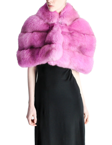 Amarcord Recycled Hot Pink Fox Fur Stole