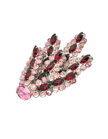 Vintage 1960s Red and Pink Glass Rhinestone Brooch