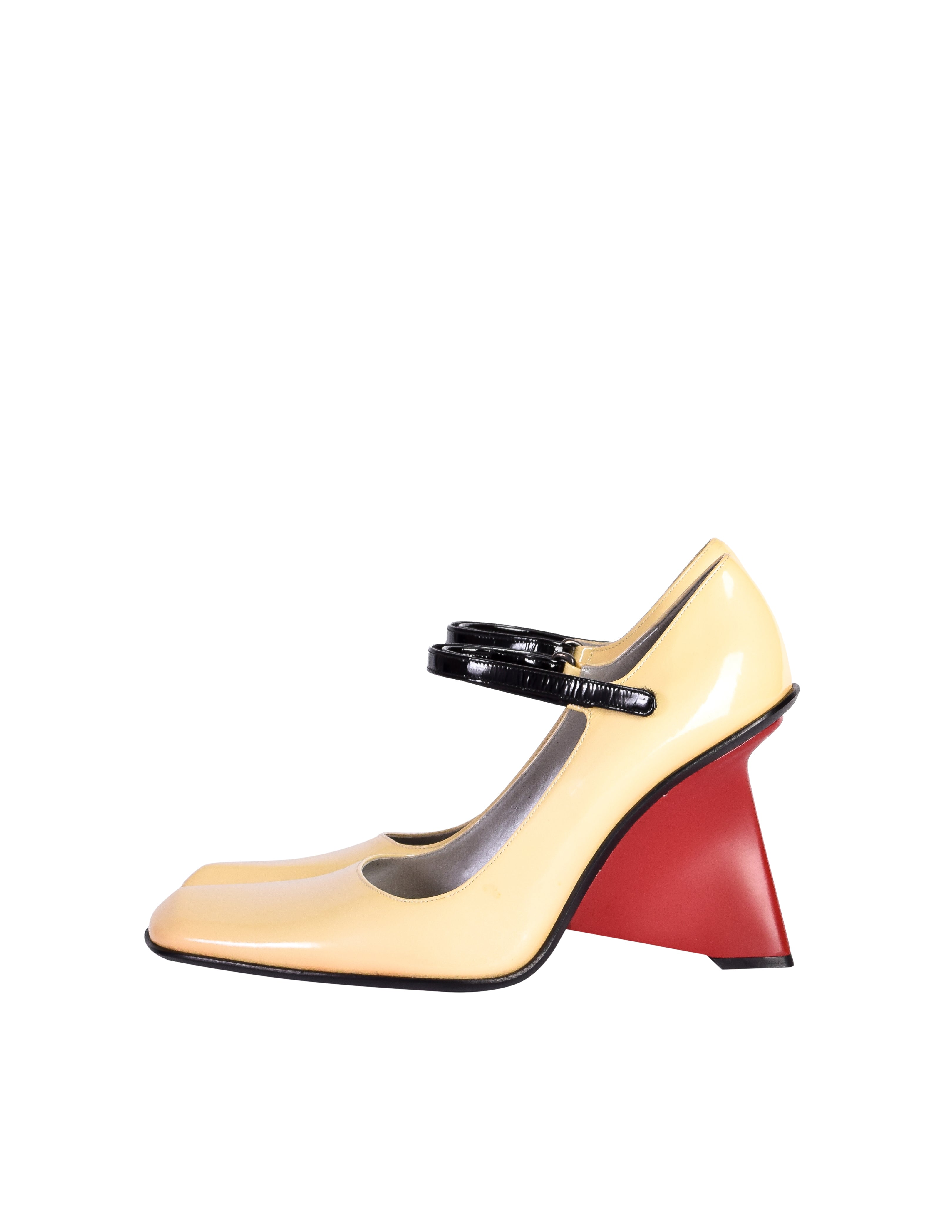 Prada Vintage 1998 Cream Black Red Mary Jane Patent Leather Sculpted Wedge Heels Shoes