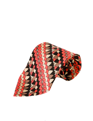 Emilio Pucci Vintage Multicolor Graphic Silk Neck Tie