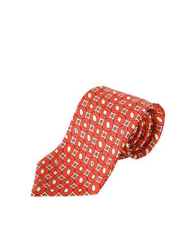 Emilio Pucci Vintage Red Graphic Silk Neck Tie