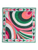 Pucci Vintage Green Multicolor Geometric Print Cotton Scarf