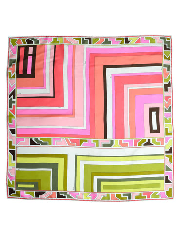 Pucci Vintage Green and Pink Geometric Print Silk Scarf