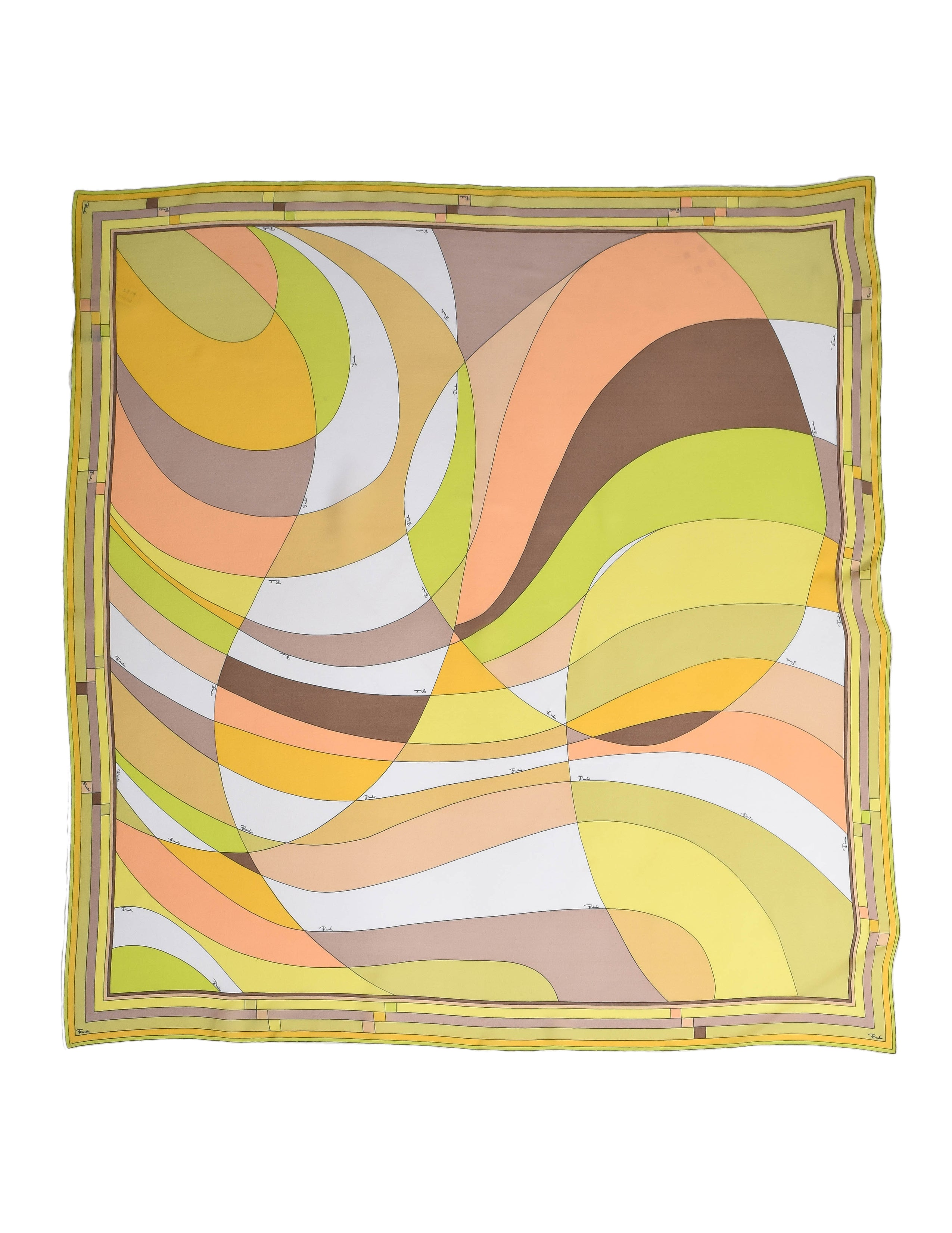 Pucci Vintage Green and Yellow Geometric Print Silk Chiffon Scarf