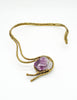 Vintage Amethyst Artisan Brass Metal Art Choker Necklace - Amarcord Vintage Fashion  - 9
