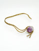 Vintage Amethyst Artisan Brass Metal Art Choker Necklace - Amarcord Vintage Fashion  - 7