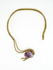 Vintage Amethyst Artisan Brass Metal Art Choker Necklace - Amarcord Vintage Fashion  - 2