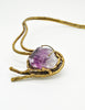 Vintage Amethyst Artisan Brass Metal Art Choker Necklace - Amarcord Vintage Fashion  - 5