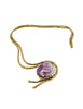 Vintage Amethyst Artisan Brass Metal Art Choker Necklace - Amarcord Vintage Fashion  - 1
