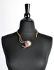Vintage Amethyst Artisan Brass Metal Art Choker Necklace - Amarcord Vintage Fashion  - 3
