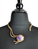 Vintage Amethyst Artisan Brass Metal Art Choker Necklace - Amarcord Vintage Fashion  - 4