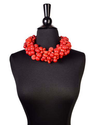 Vintage Red Bakelite and Resin Cluster Ball Charm Necklace