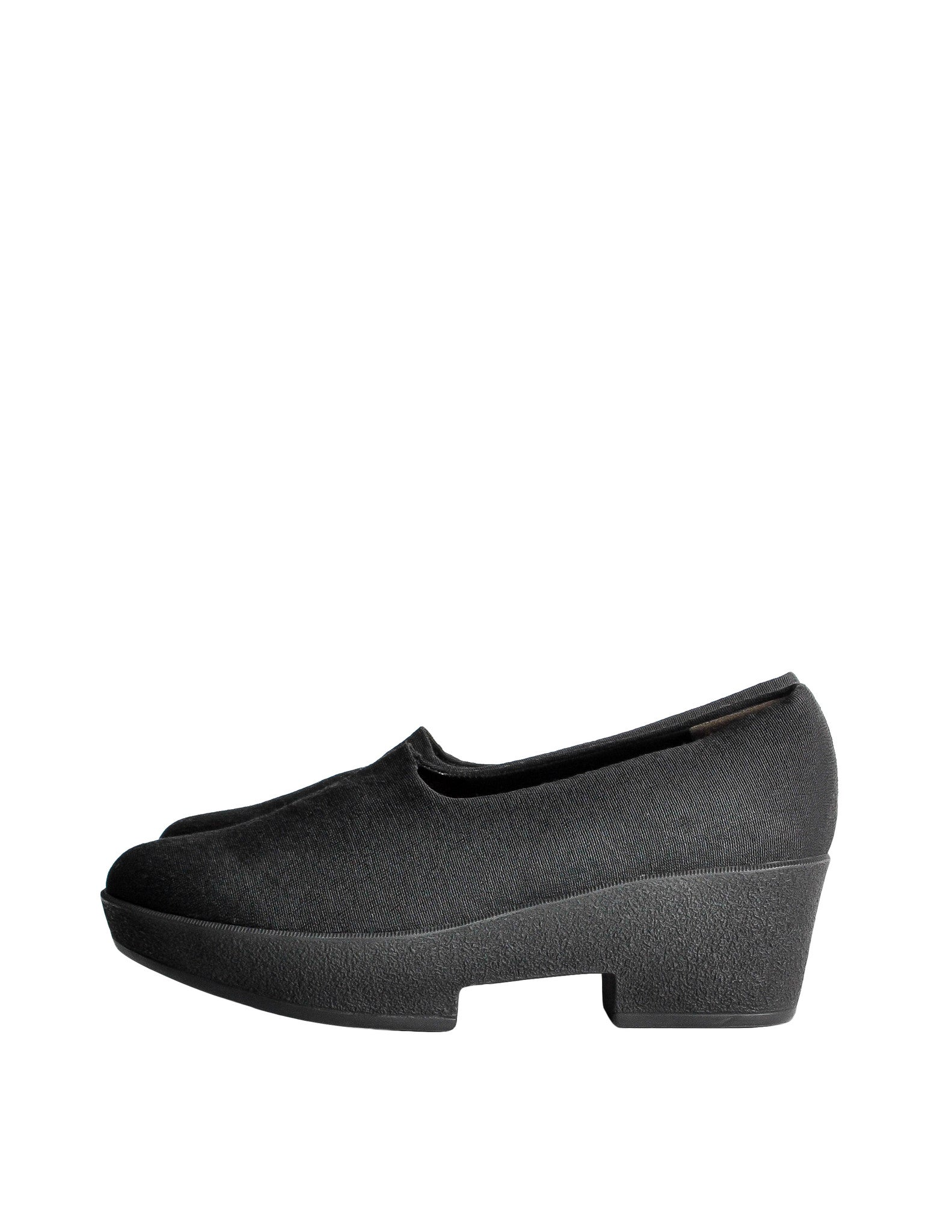 Robert Clergerie Vintage 'Vigny' Black Stretch Platform Shoes - Amarcord Vintage Fashion  - 1